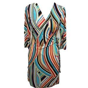 Emma Michele S Wrap Style Dress Mod Retro Stripe